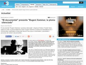 """""""Eugeni Xammar, la ploma silenciada"""", s'emetrà pel Canal 33"""