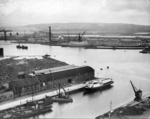 Vistes del port de Belfast, el 1937.